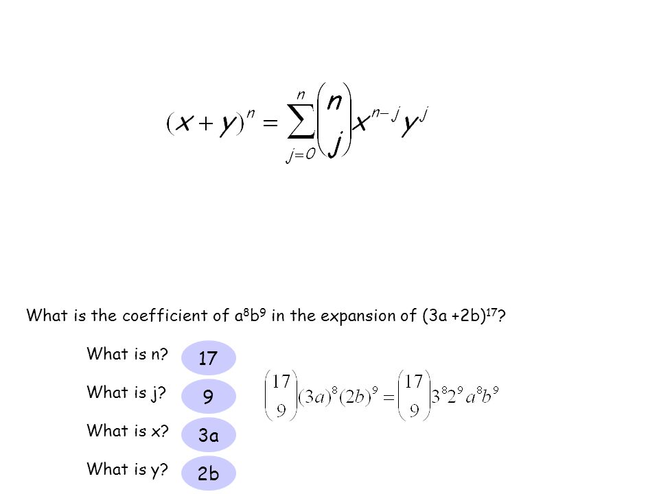 What is the coefficient of a8b9 in the expansion of (3a +2b)17