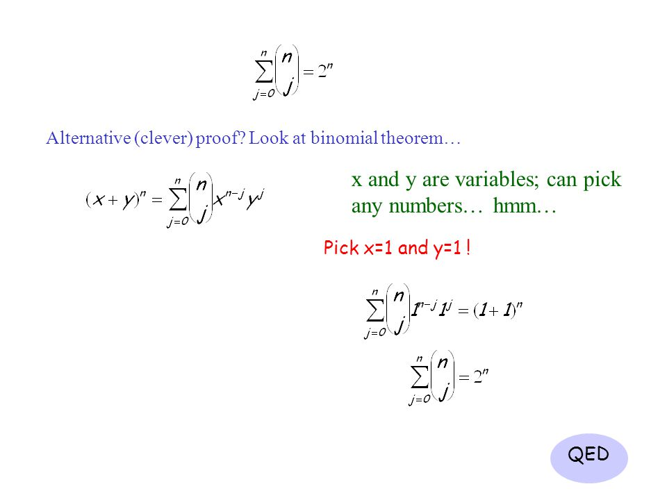 x and y are variables; can pick any numbers… hmm…