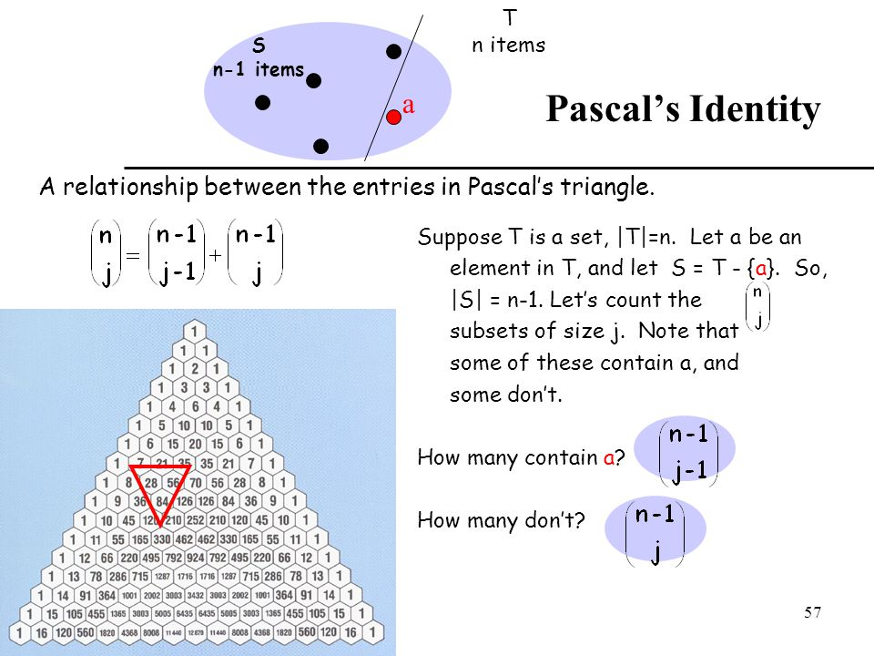 T n items. a. S. n-1 items. Pascal's Identity. A relationship between the entries in Pascal's triangle.