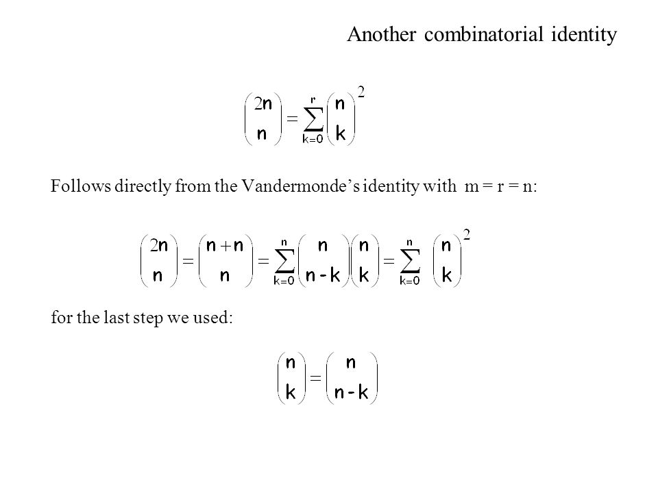Another combinatorial identity