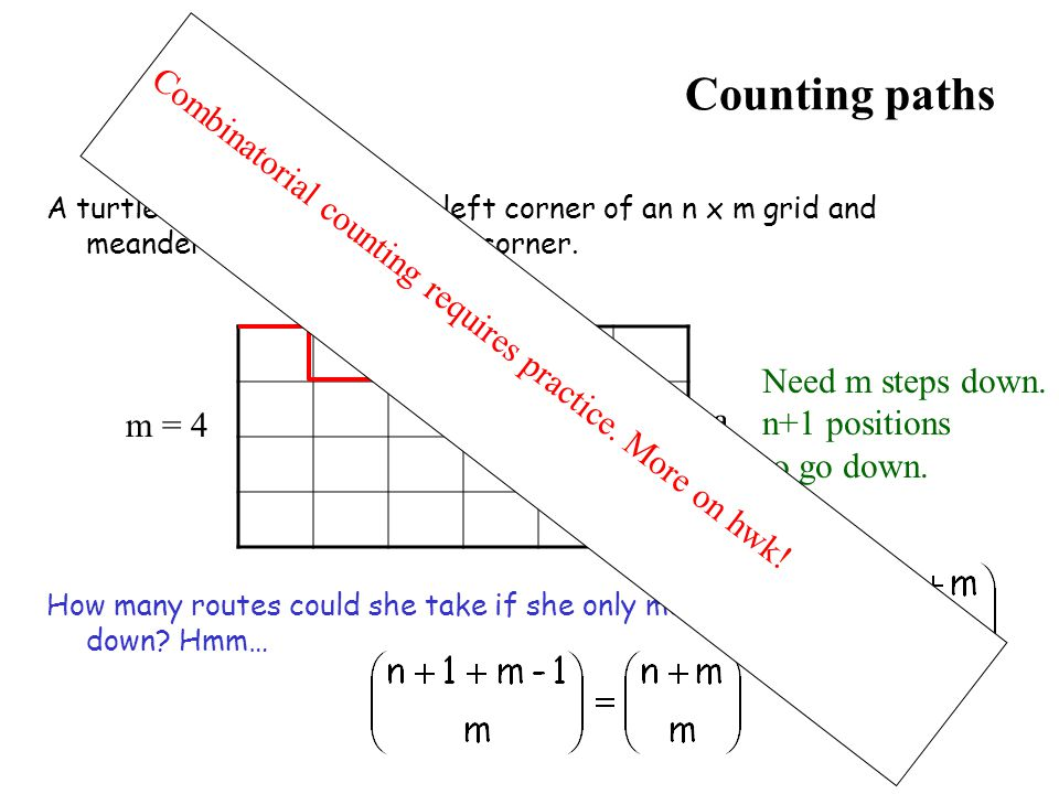Counting paths Combinatorial counting requires practice. More on hwk!