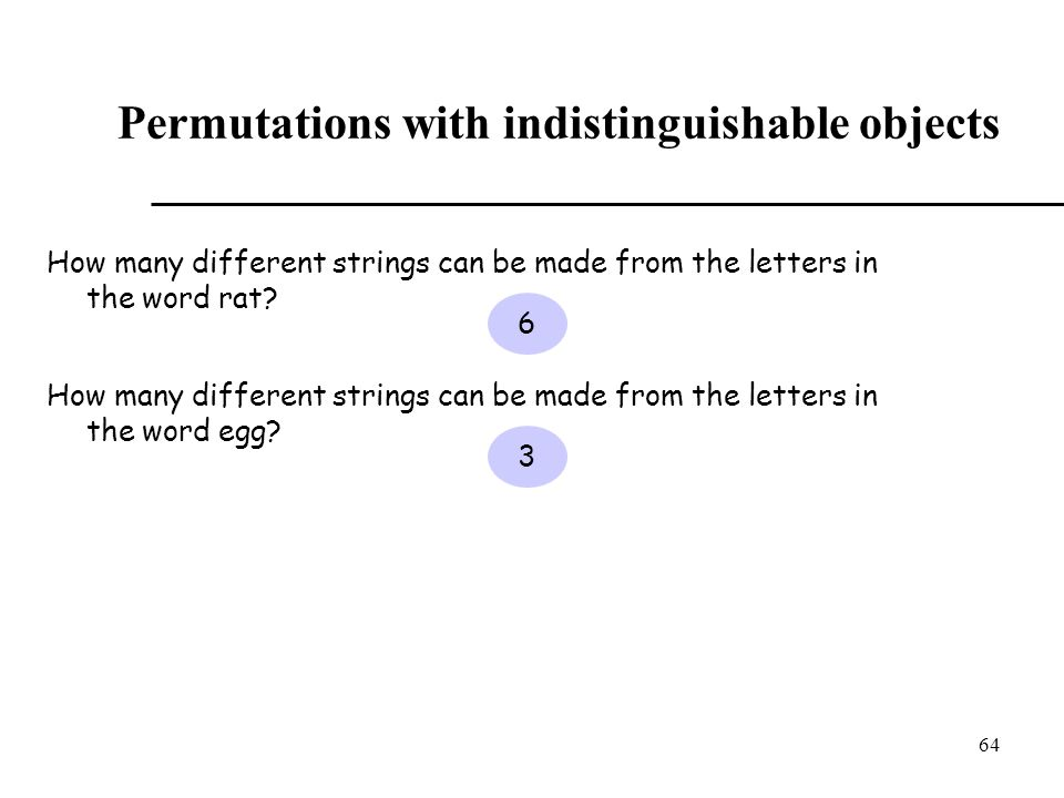 Permutations with indistinguishable objects
