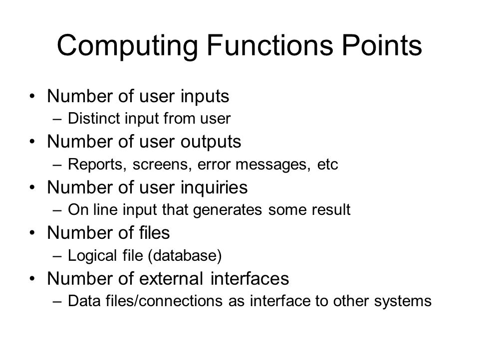 Computing Functions Points