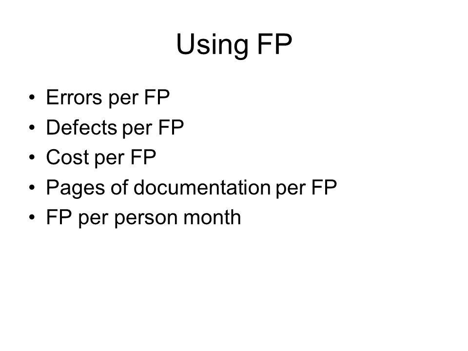 Using FP Errors per FP Defects per FP Cost per FP