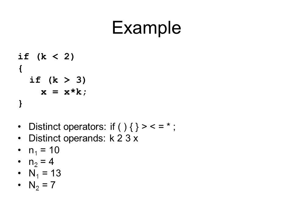 Example if (k < 2) { if (k > 3) x = x*k; }