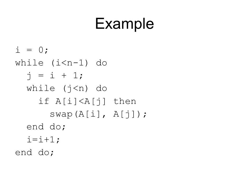 Example i = 0; while (i<n-1) do j = i + 1; while (j<n) do