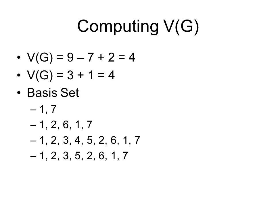 Computing V(G) V(G) = 9 – 7 + 2 = 4 V(G) = 3 + 1 = 4 Basis Set 1, 7