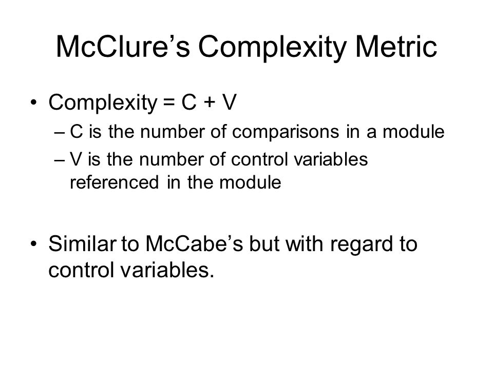 McClure's Complexity Metric
