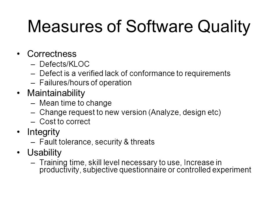 Measures of Software Quality
