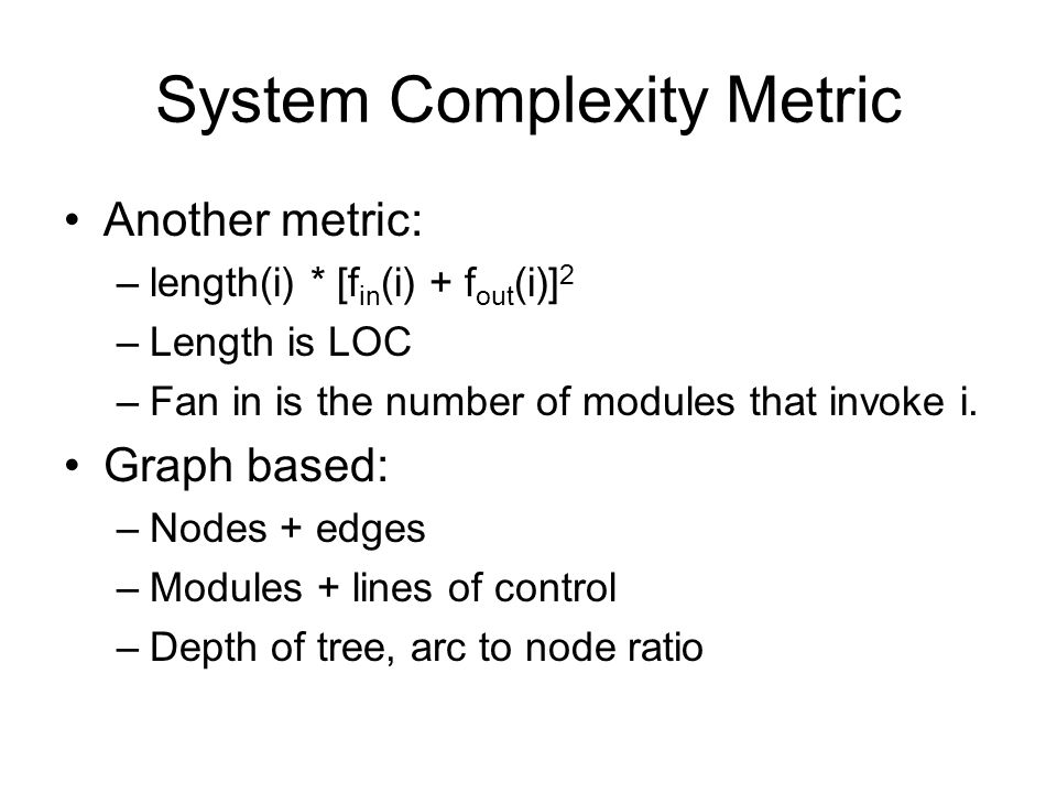 System Complexity Metric
