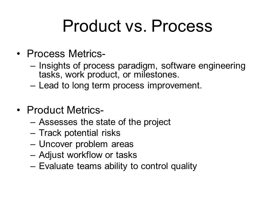 Product vs. Process Process Metrics- Product Metrics-