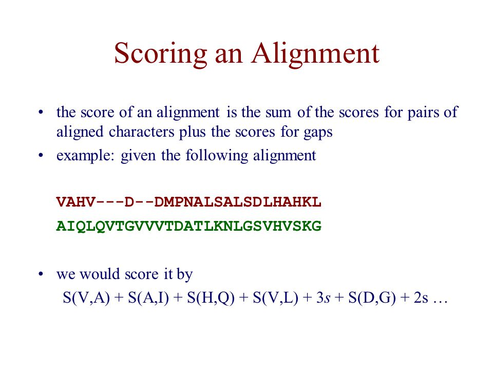 Scoring an Alignment the score of an alignment is the sum of the scores for pairs of aligned characters plus the scores for gaps.