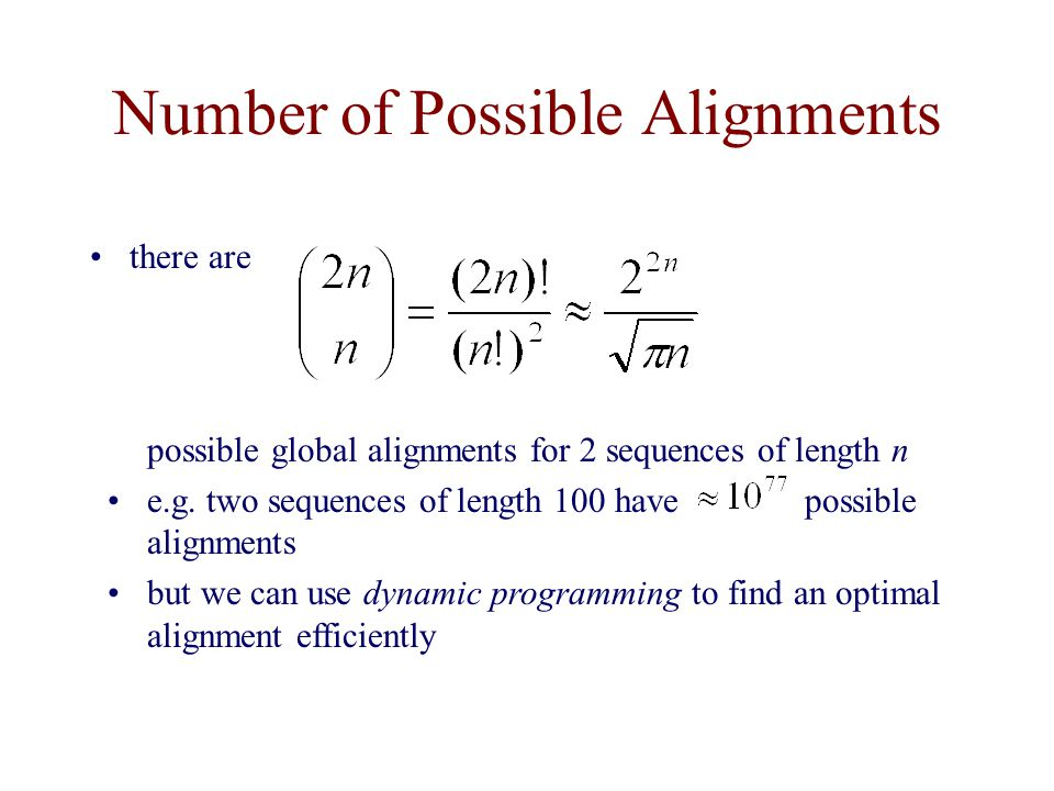 Number of Possible Alignments