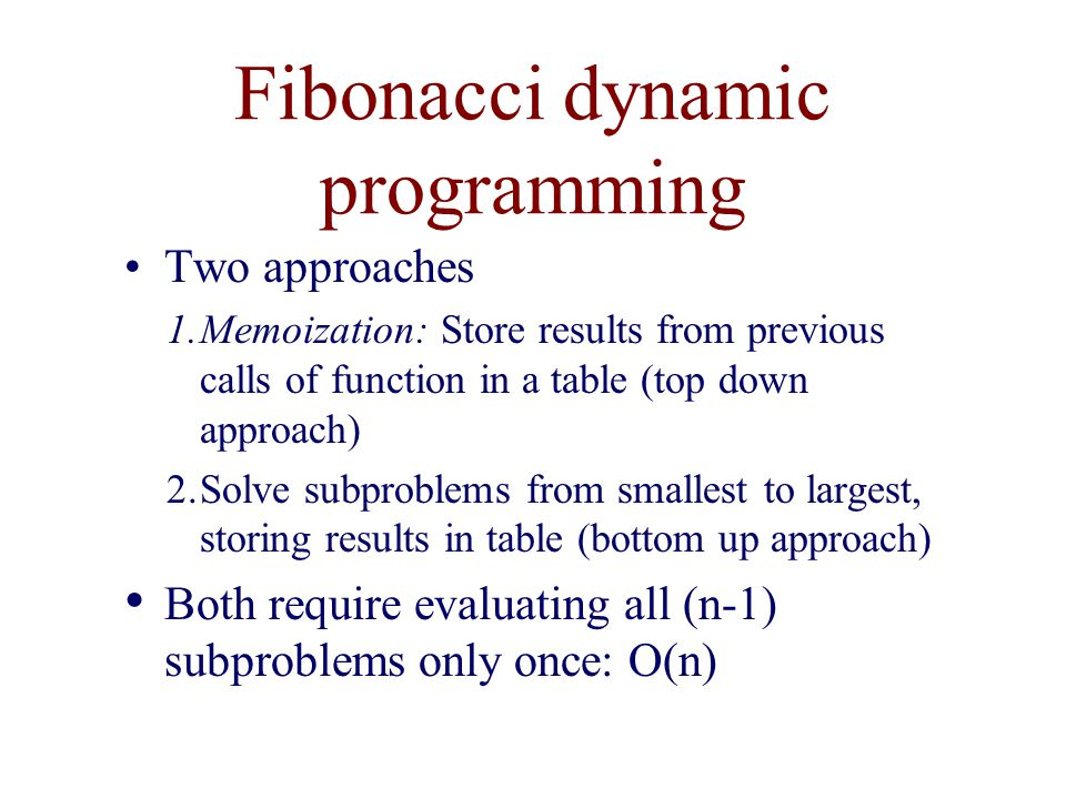 Fibonacci dynamic programming