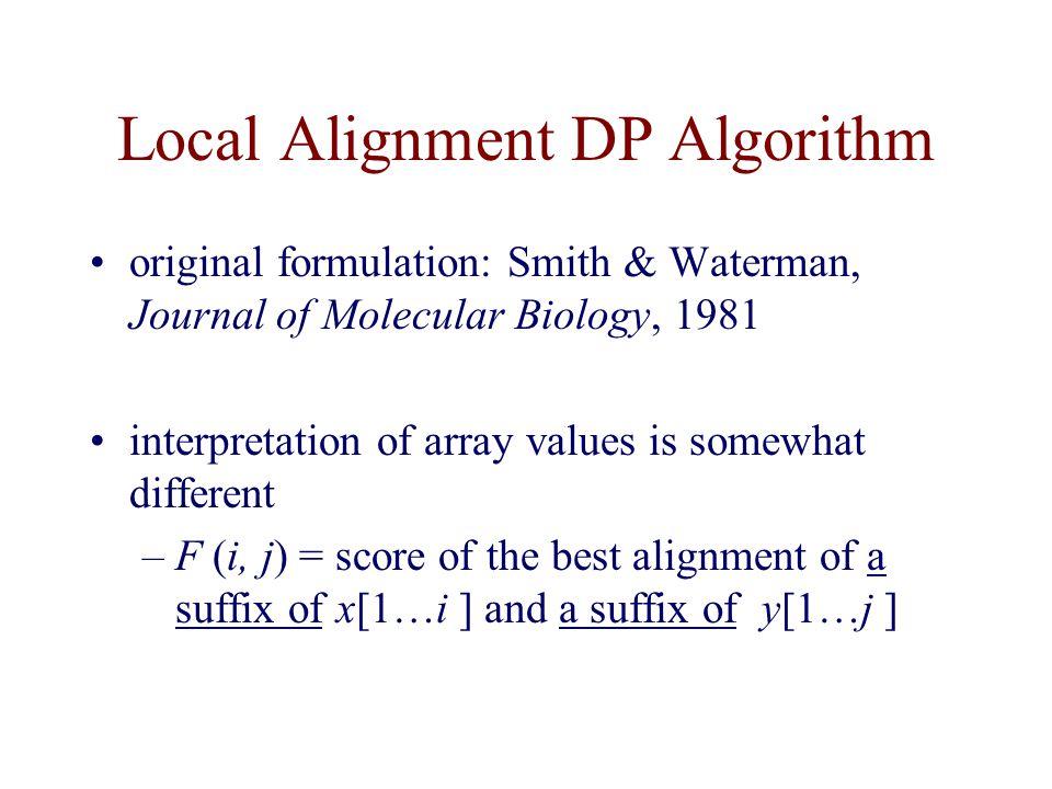 Local Alignment DP Algorithm