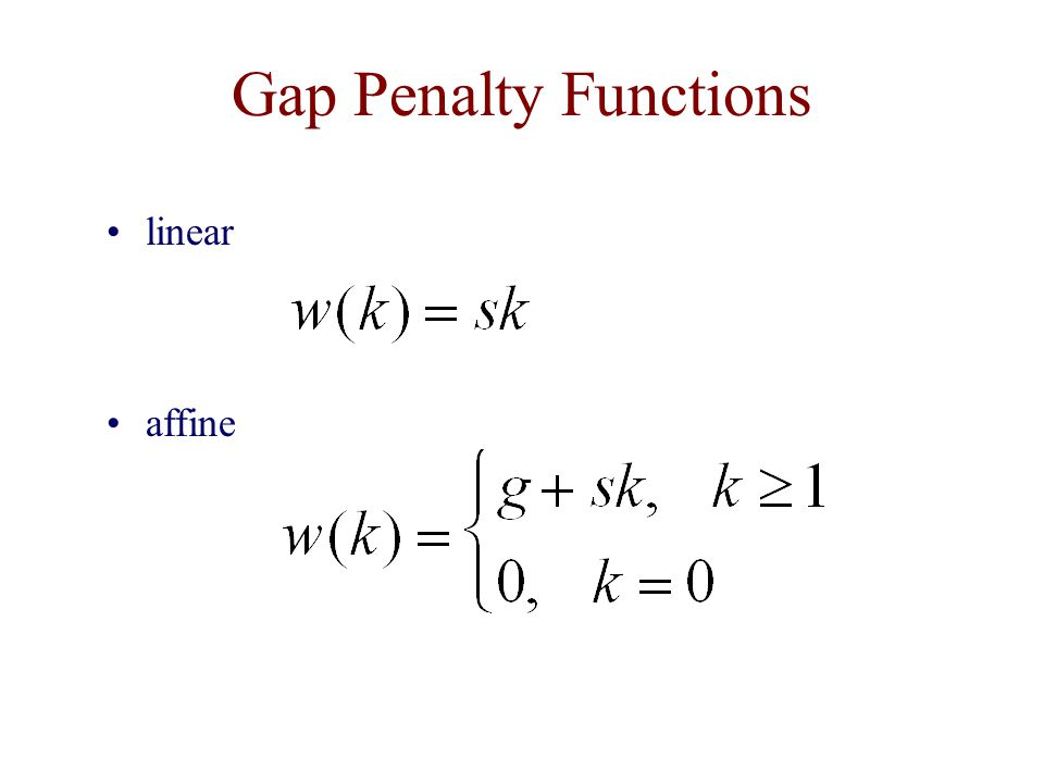 Gap Penalty Functions linear affine