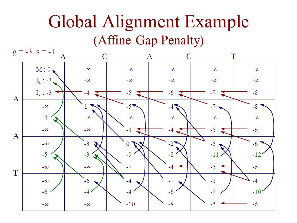 Global Alignment Example (Affine Gap Penalty)
