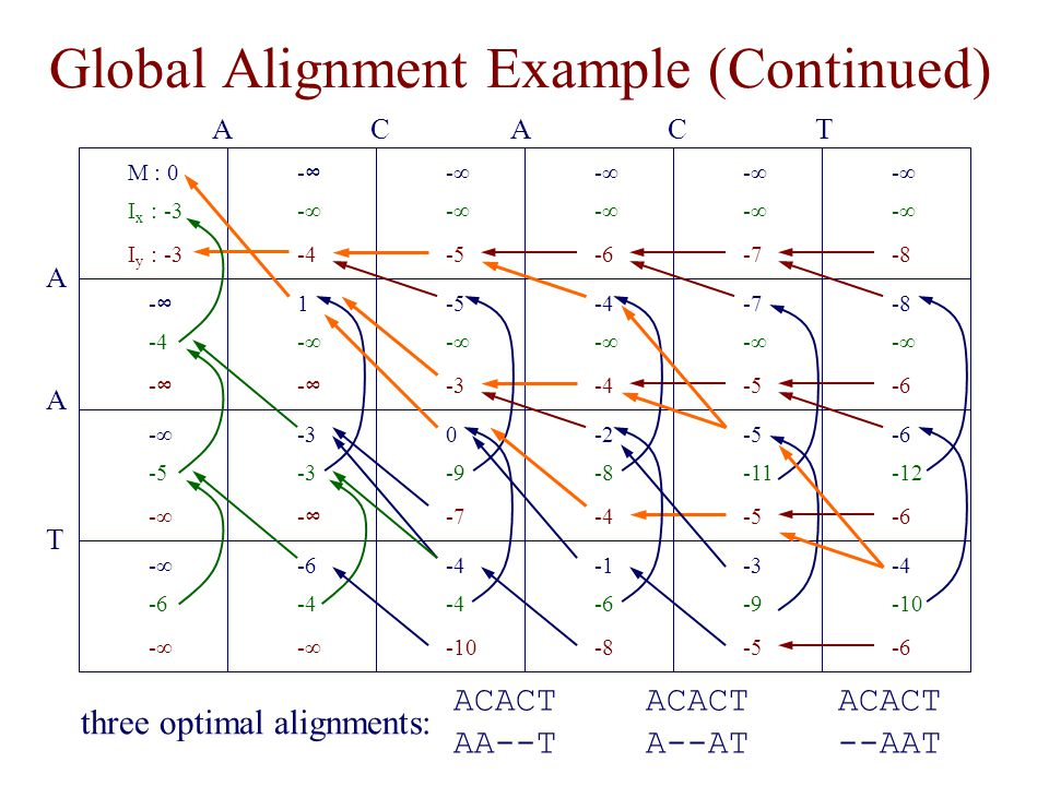 Global Alignment Example (Continued)