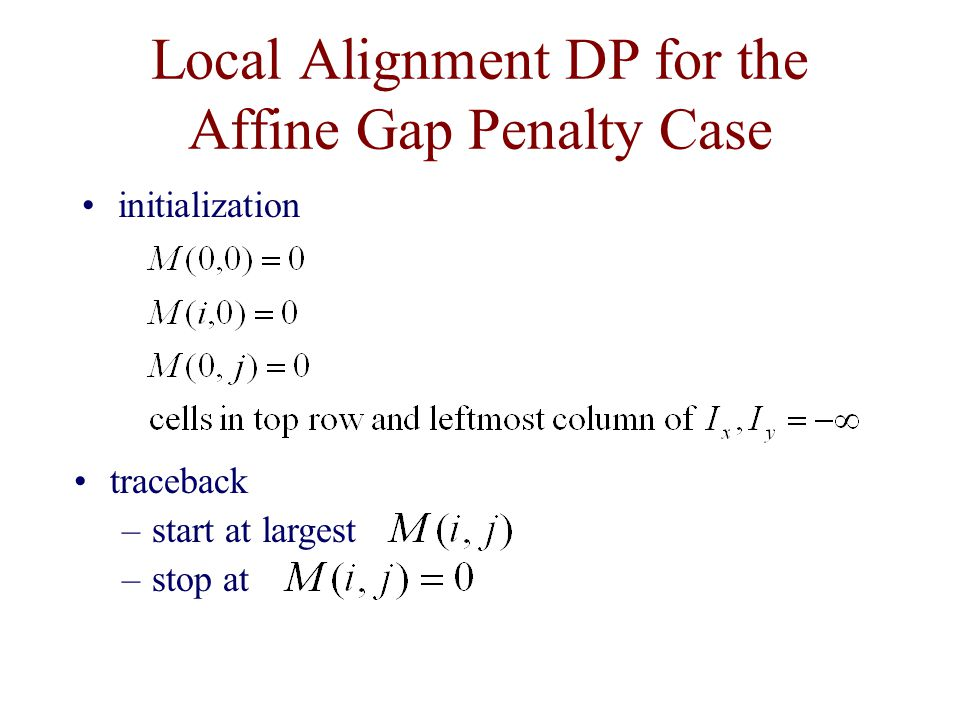 Local Alignment DP for the Affine Gap Penalty Case