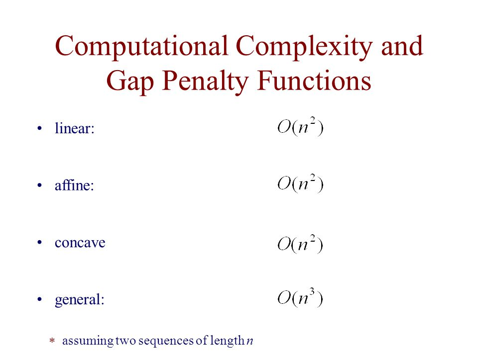Computational Complexity and Gap Penalty Functions