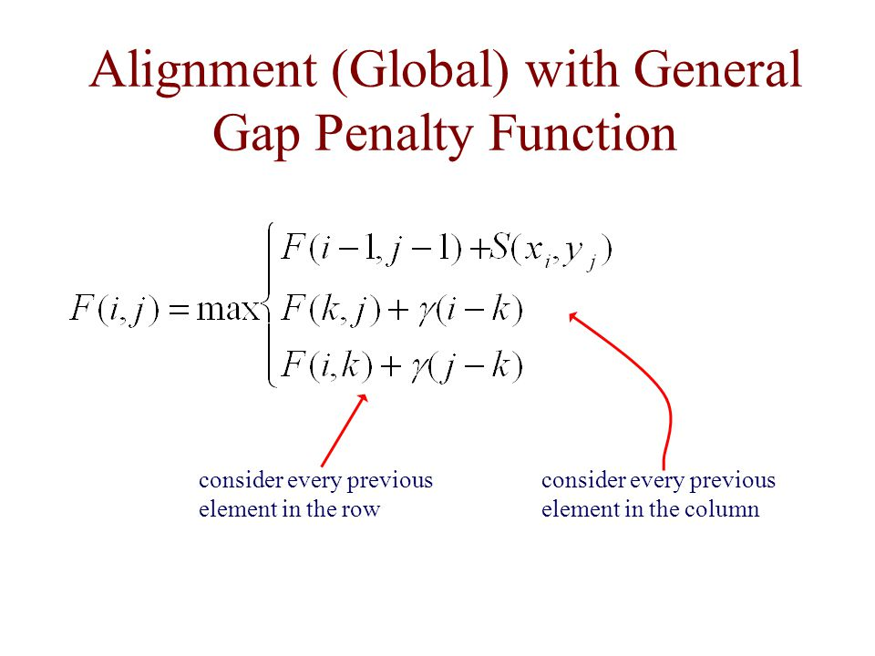 Alignment (Global) with General Gap Penalty Function