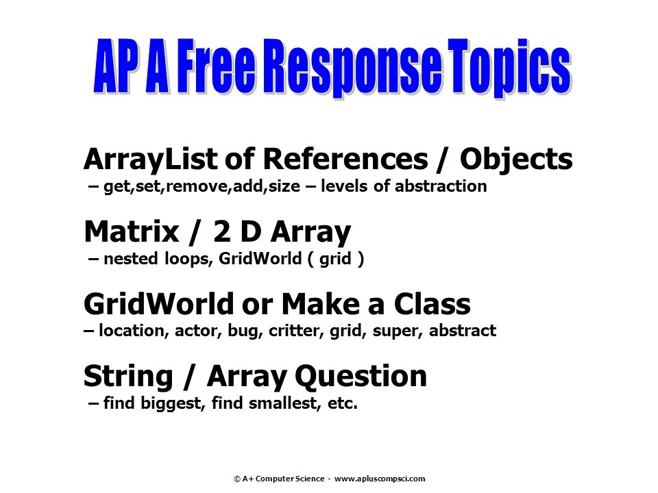 AP A Free Response Topics © A+ Computer Science - www.apluscompsci.com