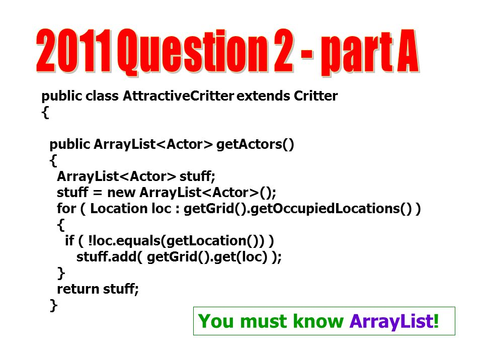 2011 Question 2 - part A You must know ArrayList!