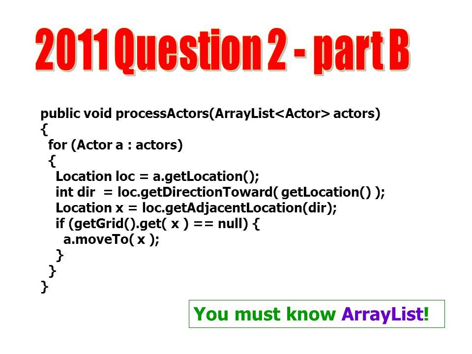 2011 Question 2 - part B You must know ArrayList!