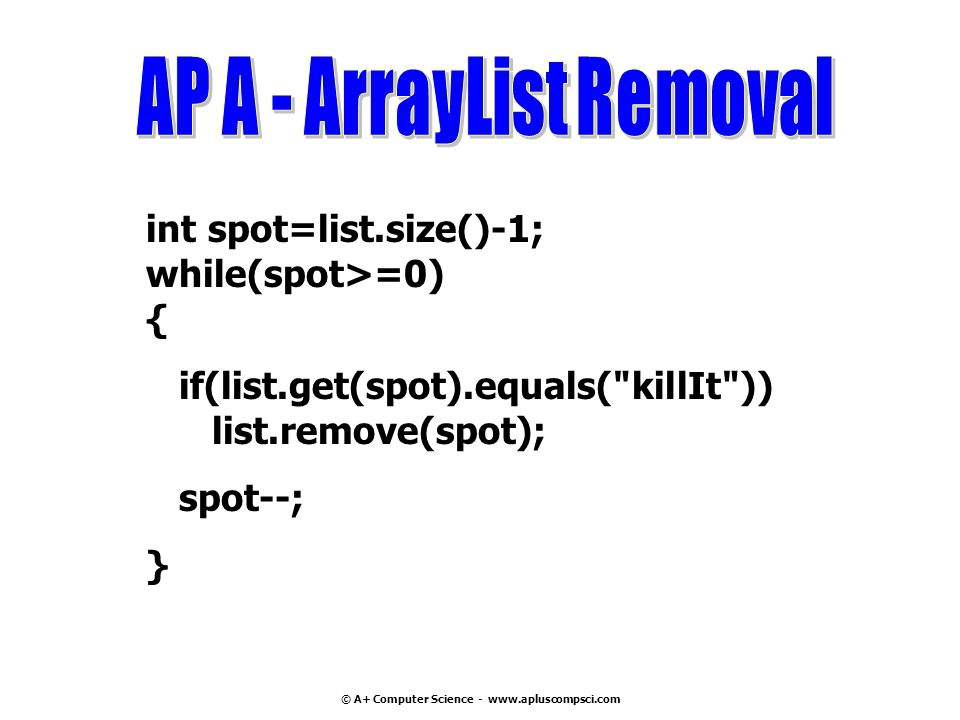 AP A - ArrayList Removal © A+ Computer Science - www.apluscompsci.com