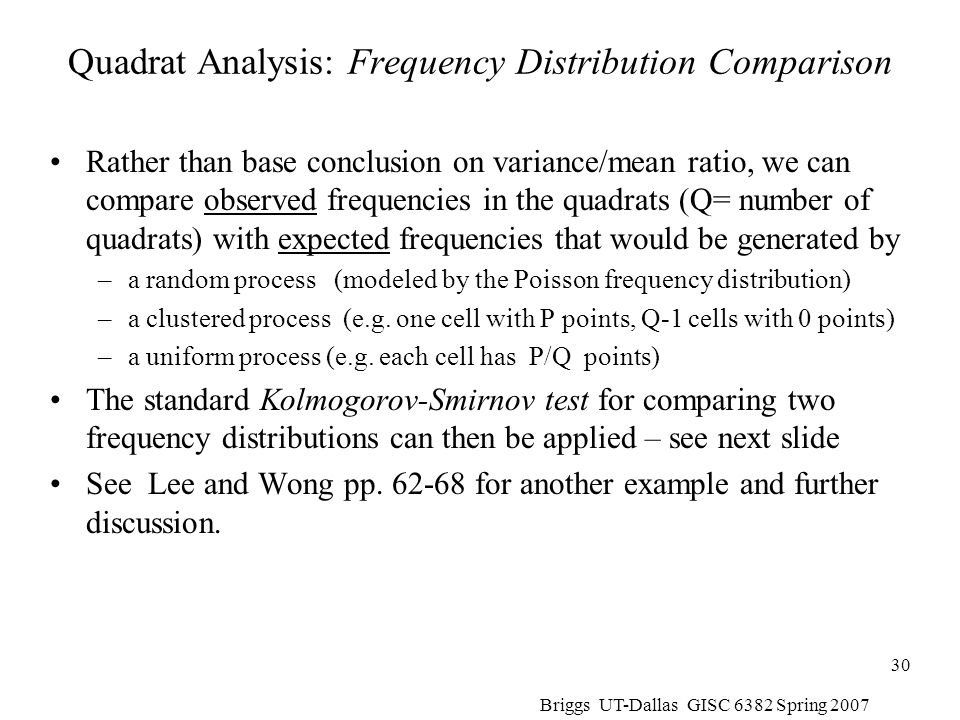 Quadrat Analysis: Frequency Distribution Comparison