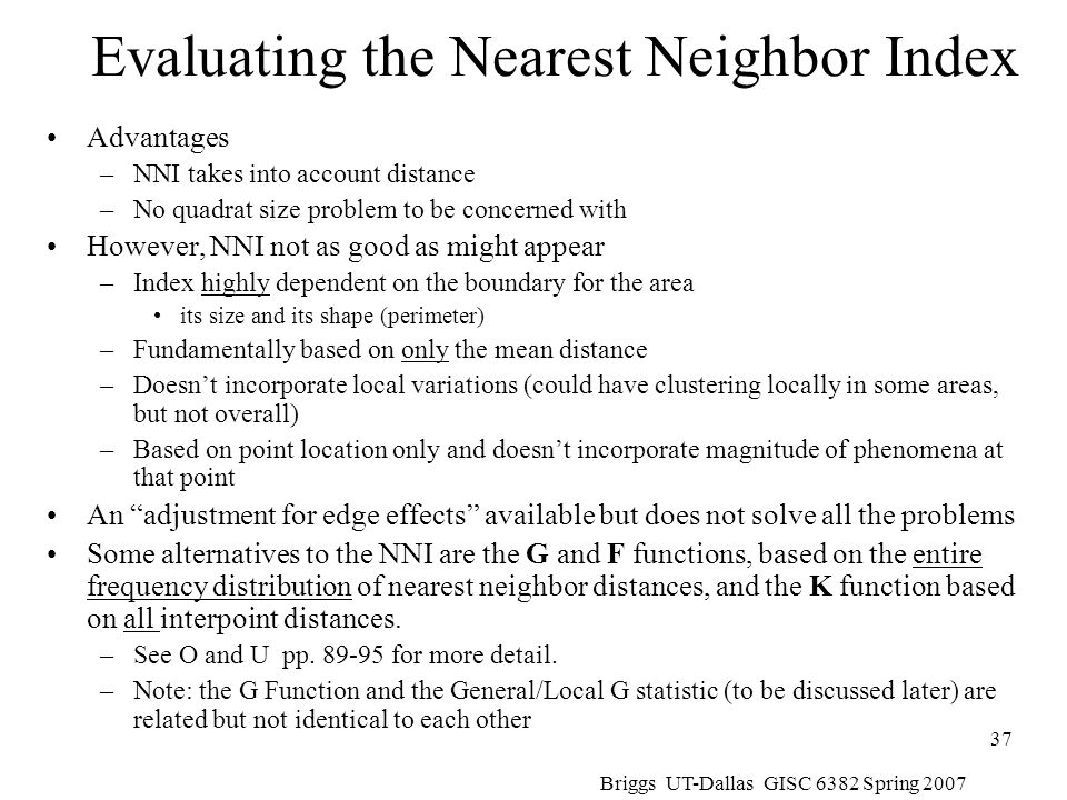 Evaluating the Nearest Neighbor Index