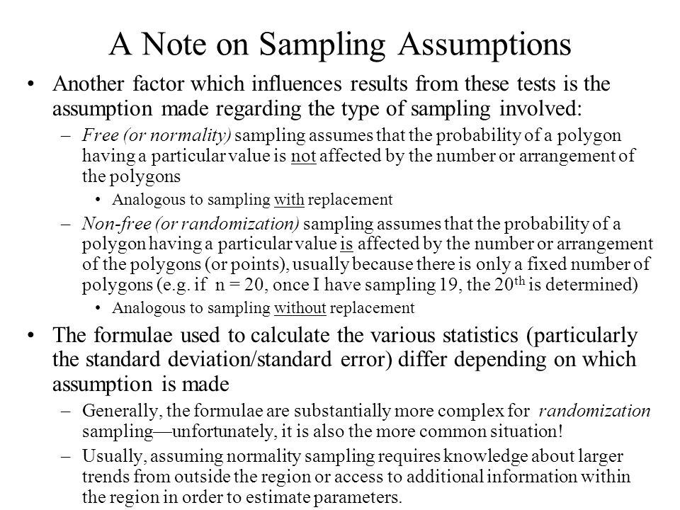 A Note on Sampling Assumptions