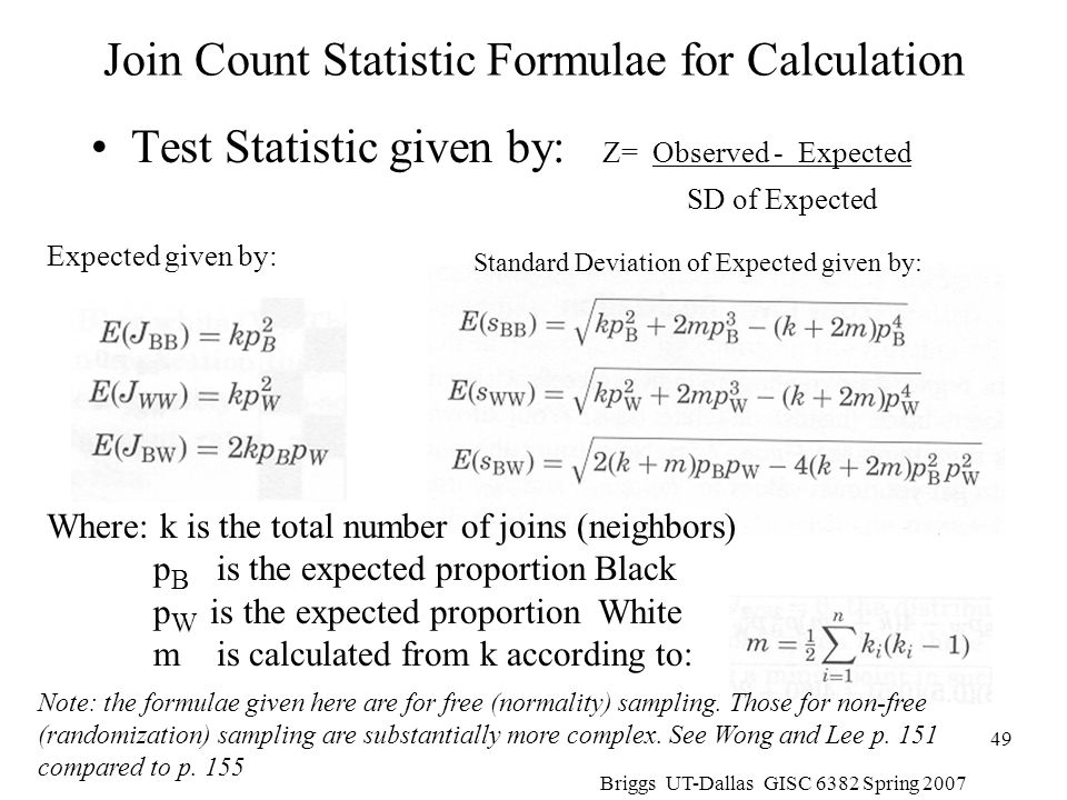 Join Count Statistic Formulae for Calculation