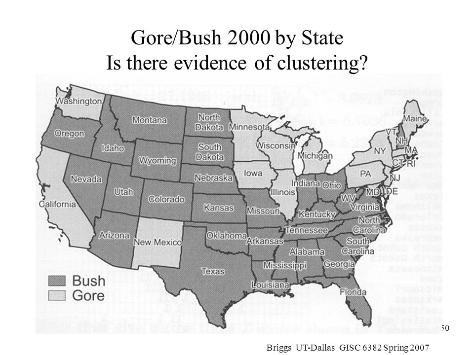 Gore/Bush 2000 by State Is there evidence of clustering
