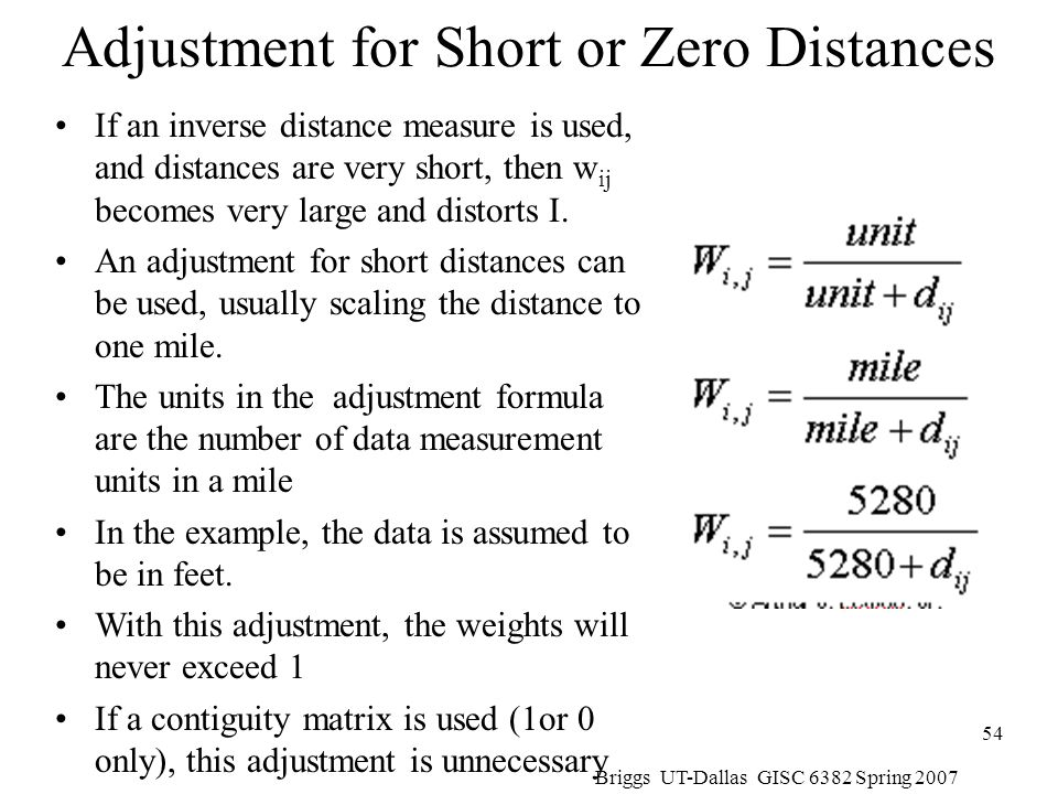 Adjustment for Short or Zero Distances