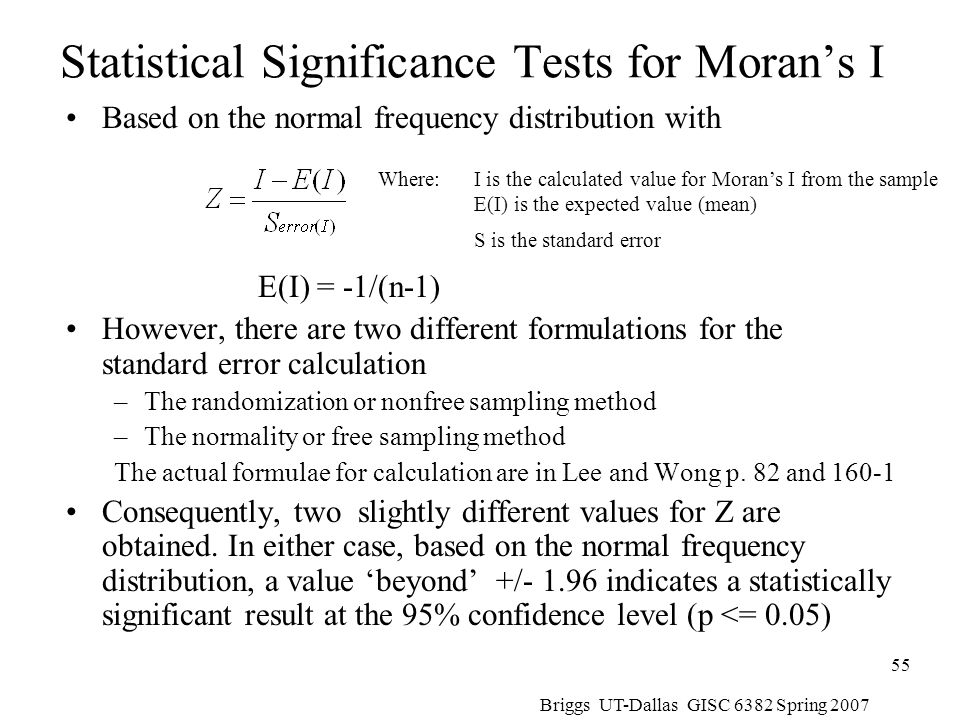 Statistical Significance Tests for Moran's I