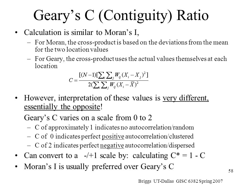 Geary's C (Contiguity) Ratio