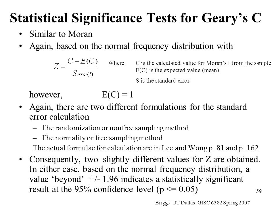 Statistical Significance Tests for Geary's C