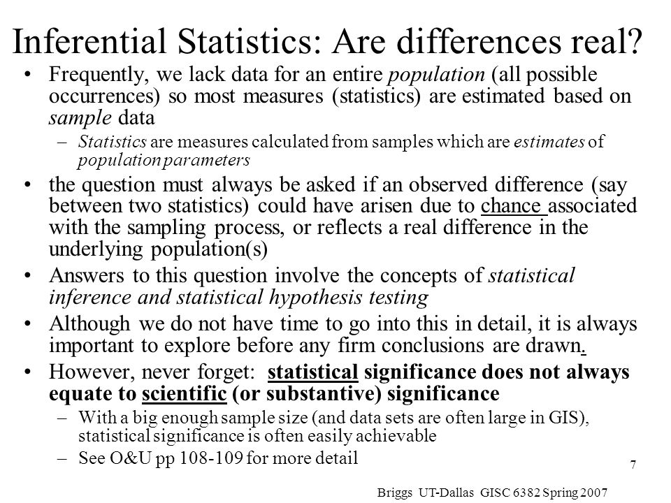 Inferential Statistics: Are differences real