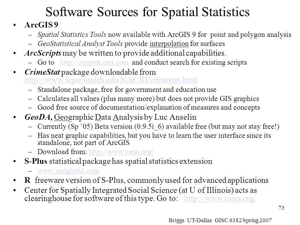 Software Sources for Spatial Statistics