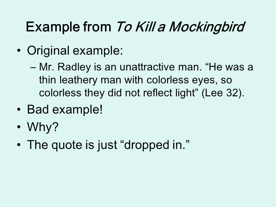 Example from To Kill a Mockingbird