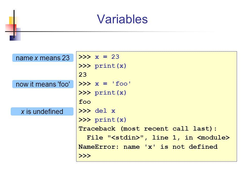 Variables >>> x = 23 name x means 23 >>> print(x) 23