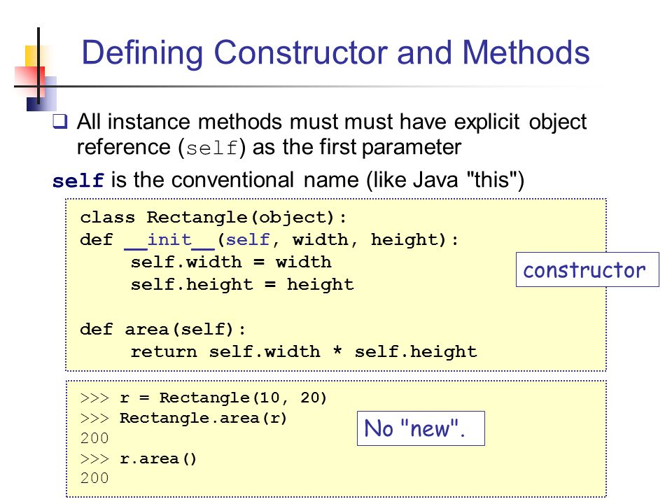 Defining Constructor and Methods