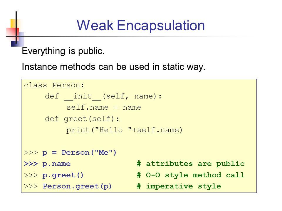 Weak Encapsulation Everything is public.