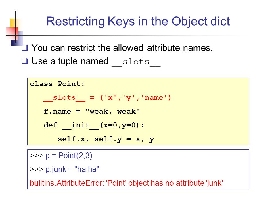 Restricting Keys in the Object dict