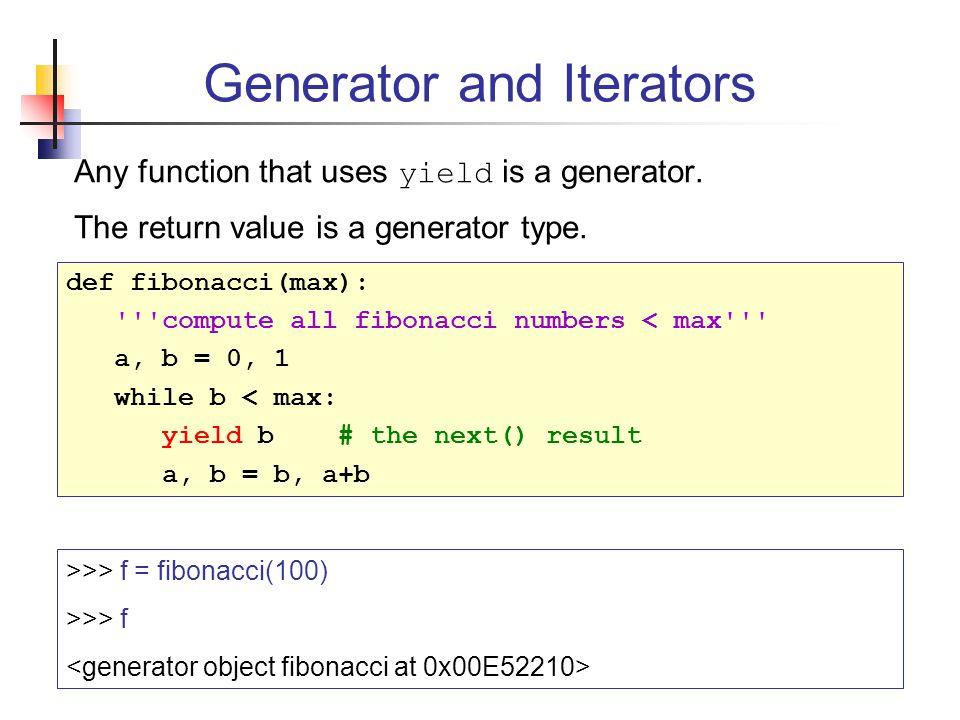 Generator and Iterators