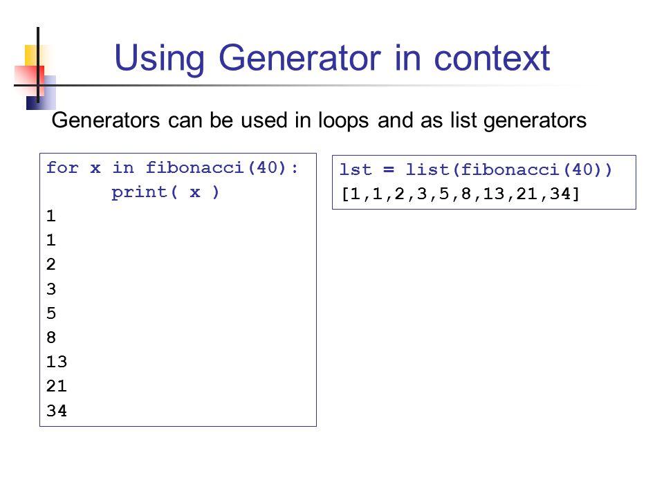 Using Generator in context