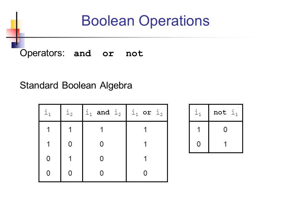 Boolean Operations Operators: and or not Standard Boolean Algebra i1