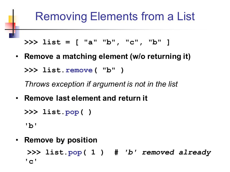 Removing Elements from a List