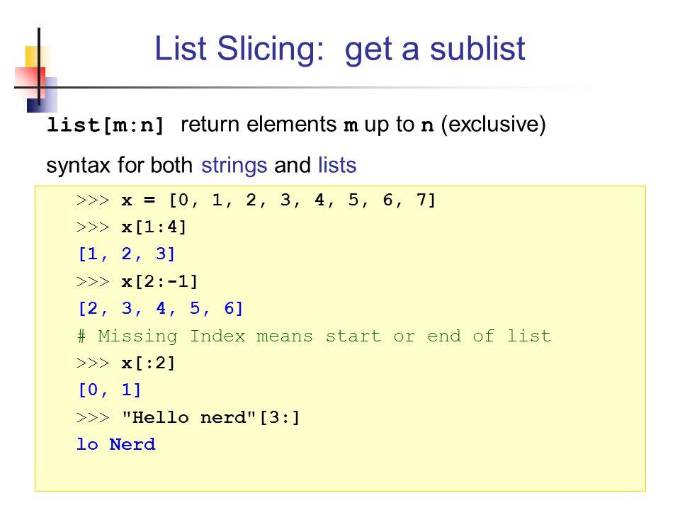 List Slicing: get a sublist